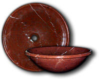 Red Rock Marble Vessel/Surface Mount Sink